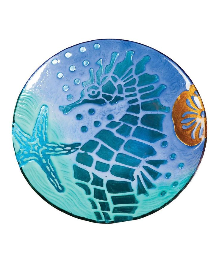 Cypress Home Sea Horse Serving Platter | Hear the ocean calling with this gorgeous glass platter. Perfect for sunset appetizers or desserts, this beachy piece is beautiful enough to be prominently displayed when not in use.
