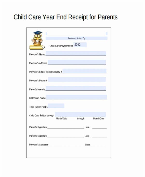 Child Care Receipt Template Lovely Printable Receipt Forms 41 Free Documents In Word Pdf Receipt Template Childcare Childcare Costs
