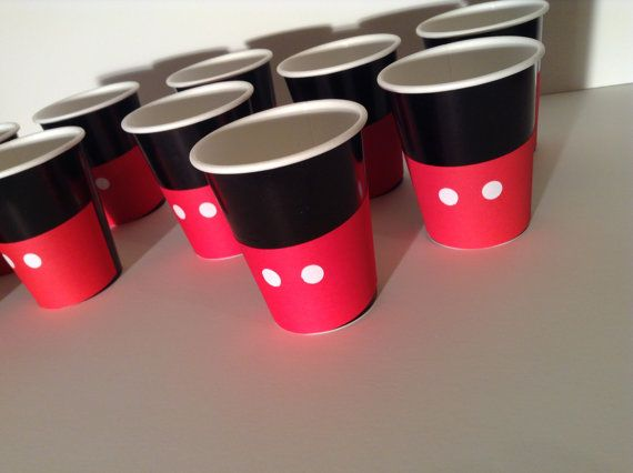 Mickey Mouse Birthday Party Cups drinking cups. Black cups and red paper.