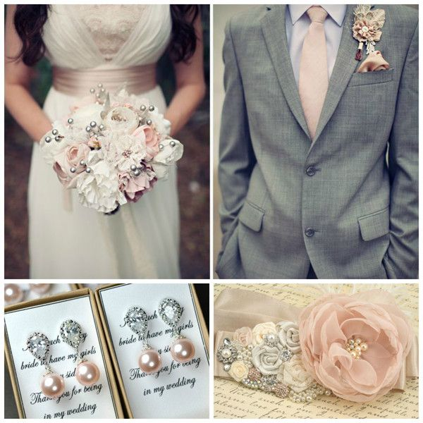 Idées déco mariage rose, ivoire et gris