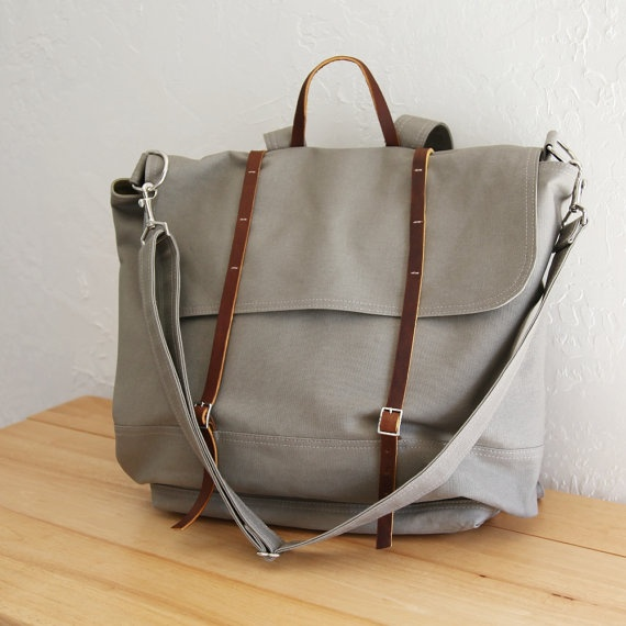 Grey and leather: Gray Canvas, Canvases Leathe Rucksack, Canvas Rucksack