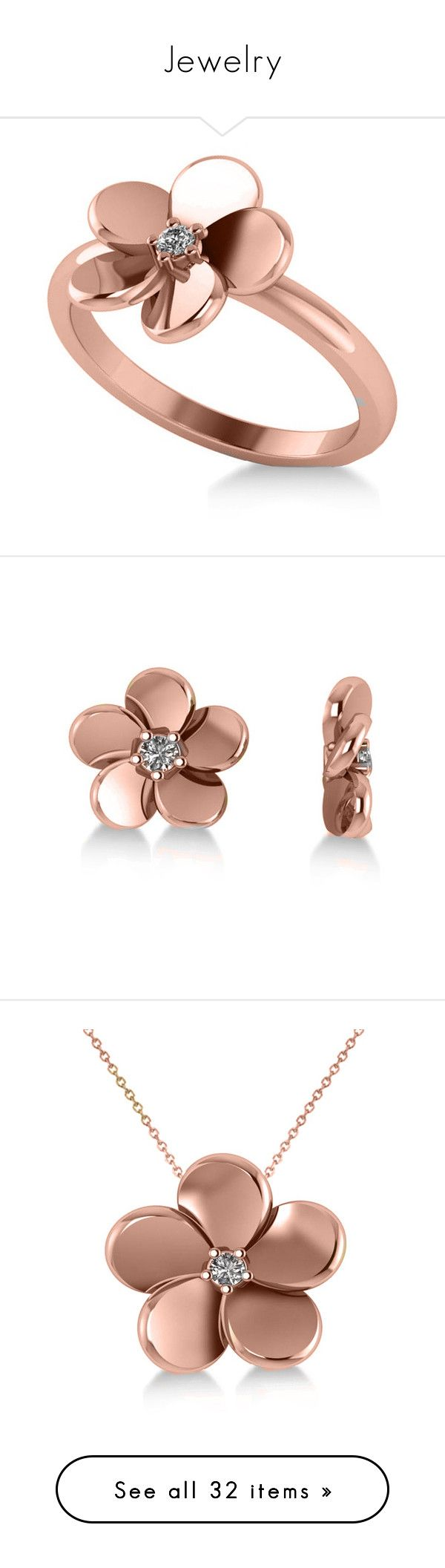 """""""Jewelry"""" by kiyiya ❤ liked on Polyvore featuring jewelry, rings, 14 karat gold ring, rose gold flower ring, solitaire ring, pink gold rings, rose gold solitaire ring, earrings, 14 karat gold earrings and rose gold jewelry"""