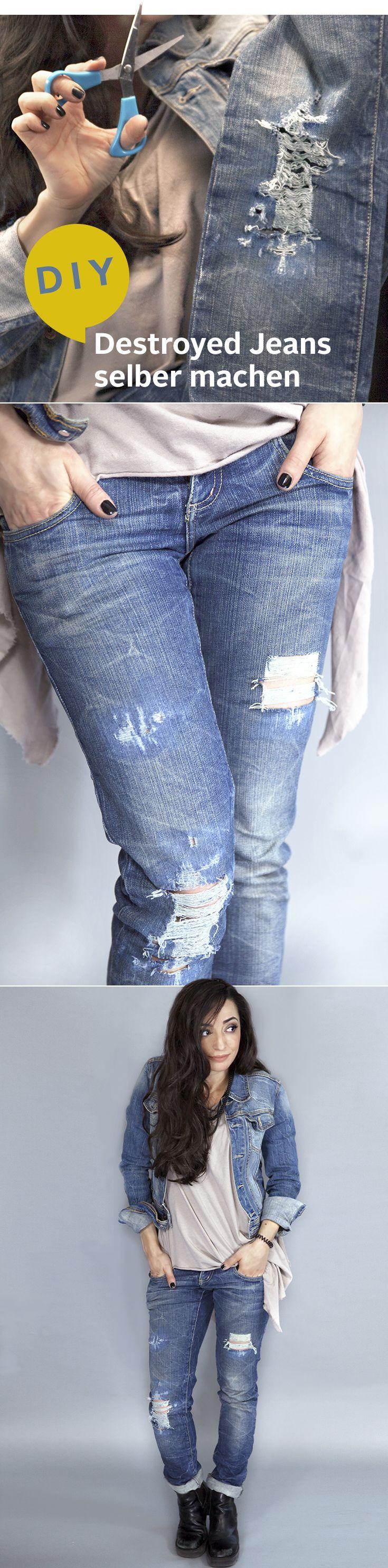 DIY: Destroyed Jeans einfach selber gemacht