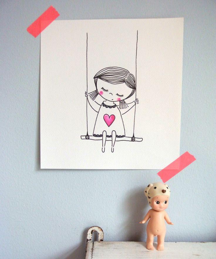 kinderkamer aan de muur   illustratie van mijzelf   te koop