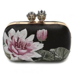Alexander McQueen Embroidered Satin Black Queen & King Crystals Clutch - 40% Off