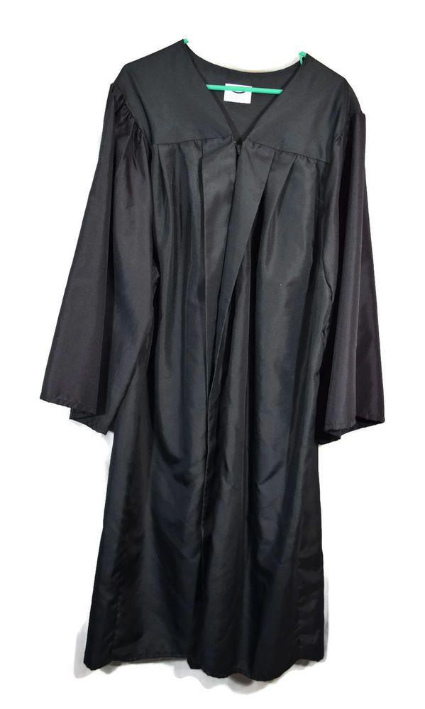 "JOSTENS GRADUATION GOWN SIZE 5'07  5""09 UNISEX BLACK PLEATED ZIPPER WIDE SLEEVE #Jostens #GOWN"