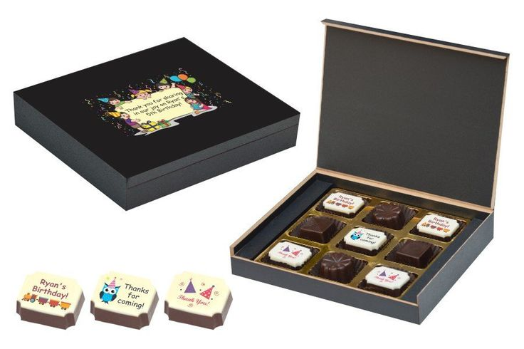 Birthday Return Gifts - 9 Chocolate Box - Alternate Printed Candies (10 Boxes)