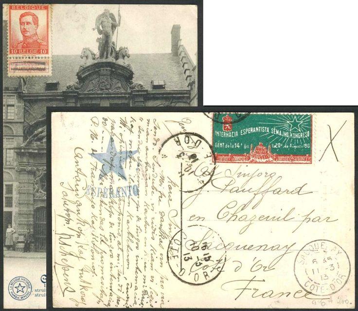 Belgium, Esperanto 10.3.1913, Belgien, Karte mit bildseitiger 10 C.-Frankatur und Vignette, vom Weltkongress in Gent, nach Frankreich gelaufen. Price Estimate (8/2016): 40 EUR.