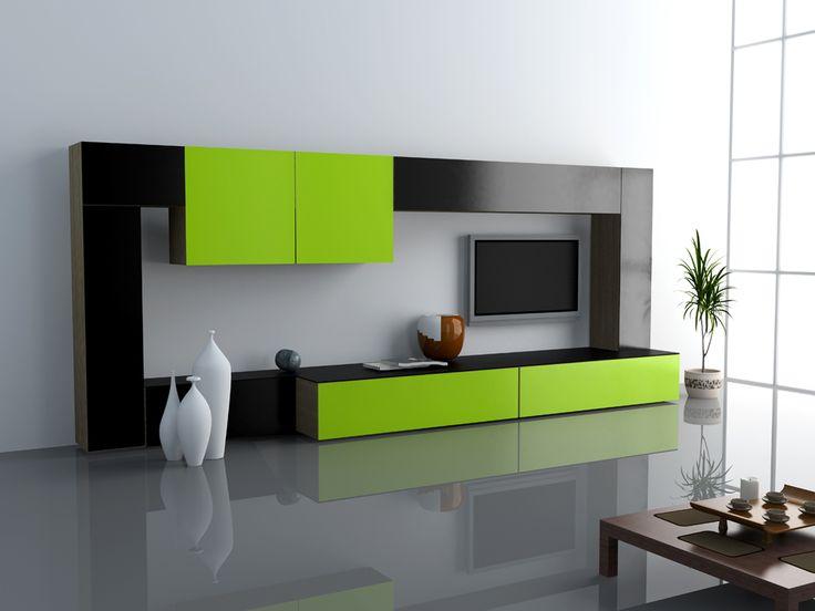 Wall Unit 3D Design Rendering w. bright colors.