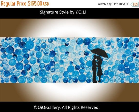 36Abstract Acrylic painting Blue Umbrella Impasto by QiQiGallery