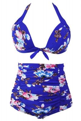 Floral Print Royal Blue High Waist Bikini Swimsuit
