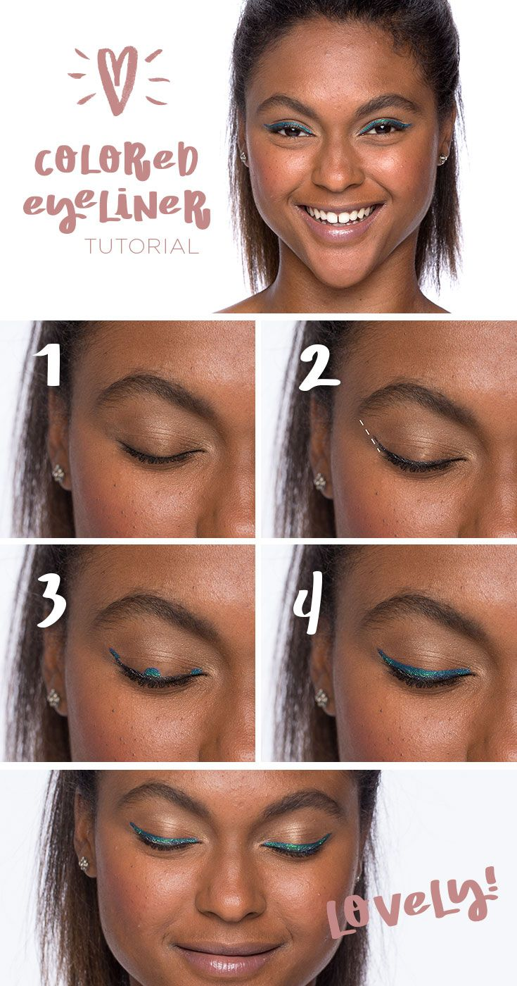 Black eyeliner is always chic but for a eye-catching twist, go for a hue that pops like aqua or purple. Begin with a neutral eyeshadow—nothing should compete with the color sweep. Starting at the inner corner of the eye follow the line of lashes along the lid. An easy trick for an unsteady hand: add a dot at the inner corner, then the middle of the lid, then at the end of the lid and then connect the three. Get the look with LORAC PRO Front of the Line eyeliner from Kohl's.