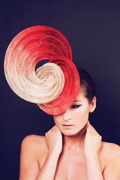Water | Label: Awon Golding | Ascot Hats Collection | Scarlet dip-dyed pinokpok hand-shaped swirl, and sashiko top-stitching. It fastens to the head by a headband | Hand made in London #millinery #judithm #hats