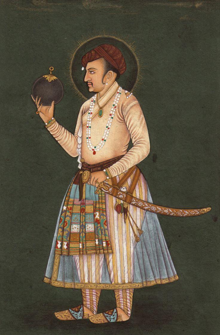 Imperial Mughal Painting Handmade Jahangir Portrait Indian Mughal Miniature Art from ArtnIndia