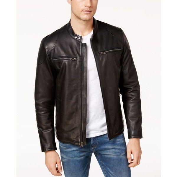 Cole Haan Men's Genuine Leather Moto Jacket ($698) ❤ liked on Polyvore featuring men's fashion, men's clothing, men's outerwear, men's jackets, black, mens leather biker jacket, mens leather moto jacket, mens biker jacket, mens motorcycle jacket and cole haan mens jacket