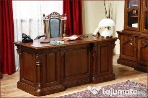 Birou din lemn masiv (simple sau cu sculptură manuală)