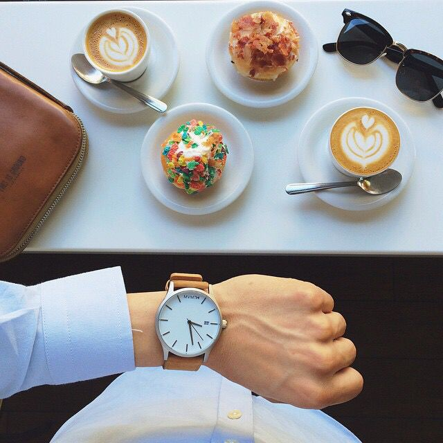 "Fancy watch meets fancy doughnut. Who's hungry? #foodporn #wristporn #jointhemvmt. Use code: ""pinterest"" for $10 off your next order!  http://www.mvmtwatches.com/?utm_source=Pinterest&utm_medium=Pins&utm_campaign=Profile"