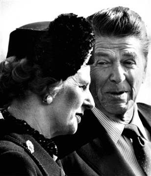 Margaret Thatcher. I cannot tell you how much I despise this woman, she ruined everything. Here she is pictured with the most wooden actor in Hollywood, Ronald Reagan, a man who couldn't even do Ronald Reagan very well.