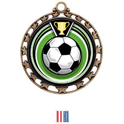 Hasty Awards Custom Soccer Eclipse Insert Medal M-4401 BRONZE MEDAL/FLAG RIBBON 2.5 - ECLIPSE Custom Soccer Hasty Awards
