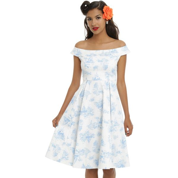 Disney Princesses Toile Print Empire Waist Dress (69 AUD) ❤ liked on Polyvore featuring plus size women's fashion, plus size clothing, plus size dresses, dresses, empire line dress, white empire waist dress, cotton dresses, zip back dress and white off the shoulder dress