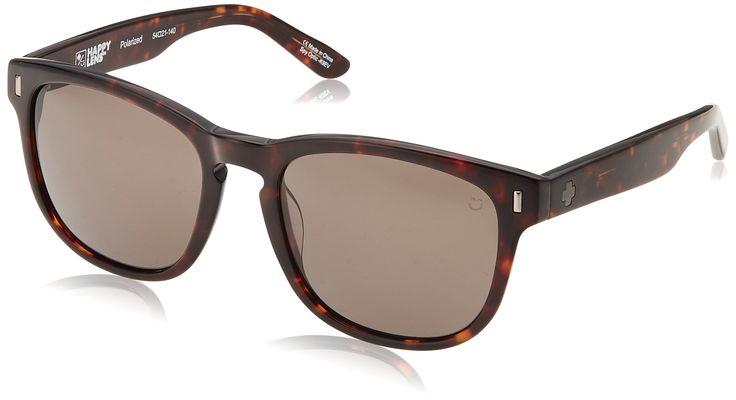 Spy Optic Unisex Beachwood Happy Lens Collection Polarized Sunglasses, Dark Tort/Bronze, One Size Fits All