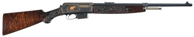 John Ulrich engraved Winchester Model 1910 semi automatic rifle.