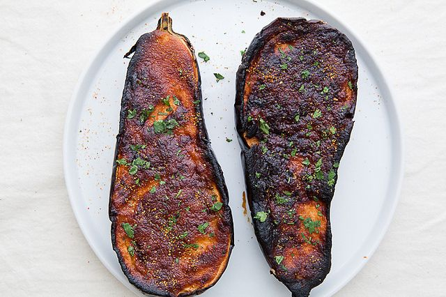 Roasted Eggplant With Miso Lime Dressing