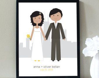 Retrato, retrato personalizado, ciudad ilustración de boda con silueta de horizonte, horizonte, retrato de bodas, Chicago o cualquier ciudad de la boda