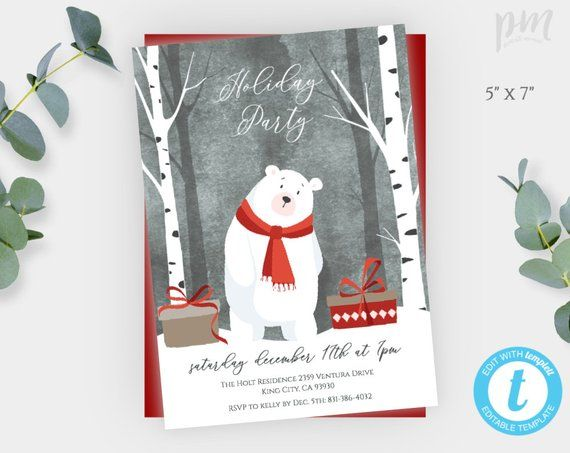 Holiday Party Invitation Template, Christmas Party Invite, Instant