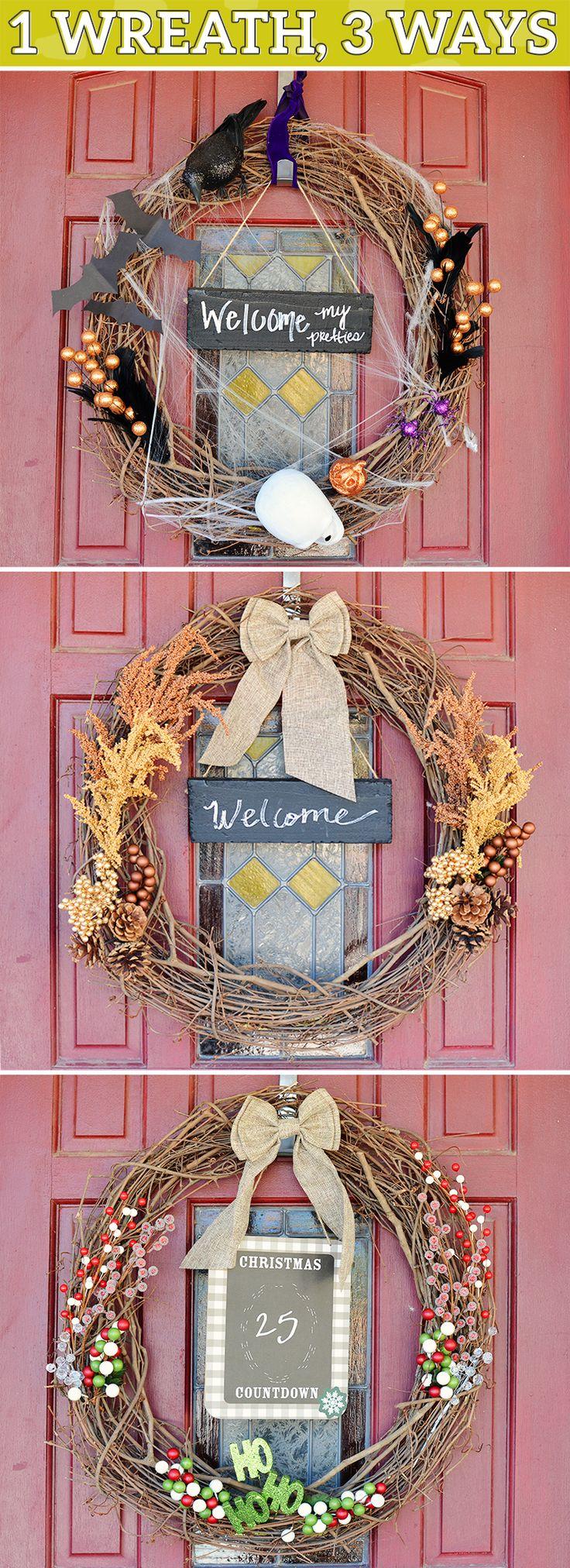Holiday Decor: 1 Wreath, 3 Ways for under $20 #diy #halloween #thanksgiving #christmas