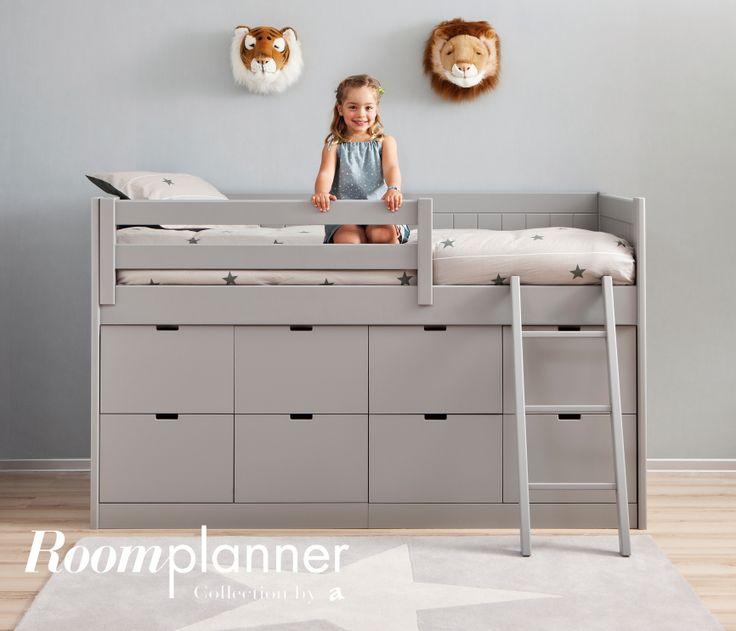 Lit mezzanine babel lit en hauteur avec 8 tiroirs pour un for Lit en hauteur