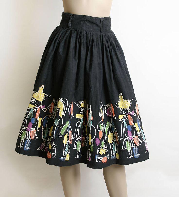 "Vintage Hans Moller ""Circus Days"" AAA Novelty Print Skirt"
