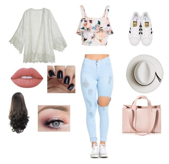 """""""Day out ☀️"""" by elmiller95 on Polyvore featuring New Look, Calypso Private Label, adidas Originals, Calypso St. Barth, Corto Moltedo and Lime Crime"""