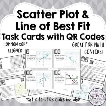 Scatter Plots and Line of Best Fit (Interpreting Data) Task Cards with or without QR Codes!Get your students involved with practicing Interpreting Data with Scatter Plots and Line of Best Fit! Task cards include multiple choice problems and constructed response.