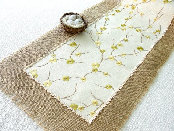 Rustic  Table Runner Embroidered Linen and by HotCocoaDesign, $33.00