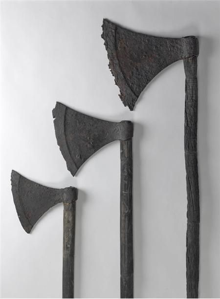 These axes were found together in 2013 in a boat in Lough Corrib, and date to the 11th or early 12th century. These classic 'Viking' axes almost certainly belonged to Irish warriors, showing how widely the Irish adopted them. The largest axe probably had a long handle for two-handed use. All three handles were carved from cherry wood (prunus).