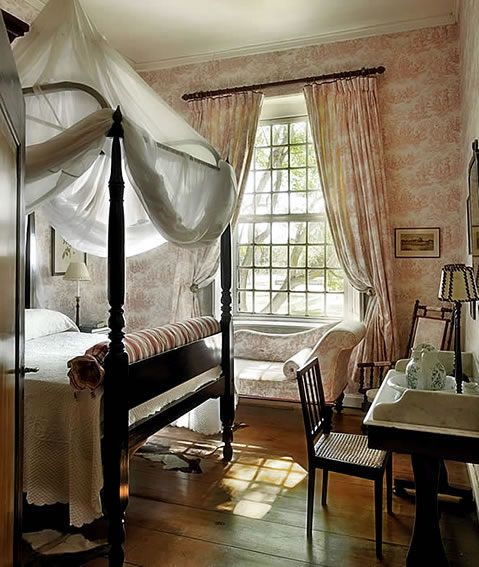 toile and draped bed in England