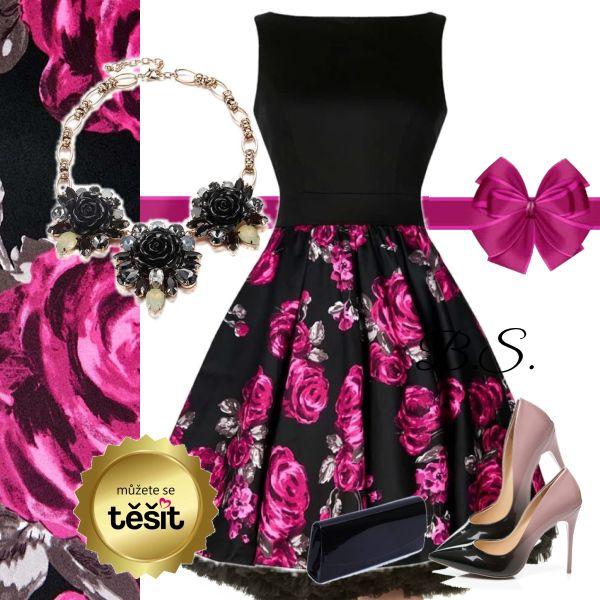 Šaty Lady V London Tea s růžovými a šedými růžemi