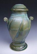 Large Fluted Stoneware Urn with Spiral Handles and Attached Base