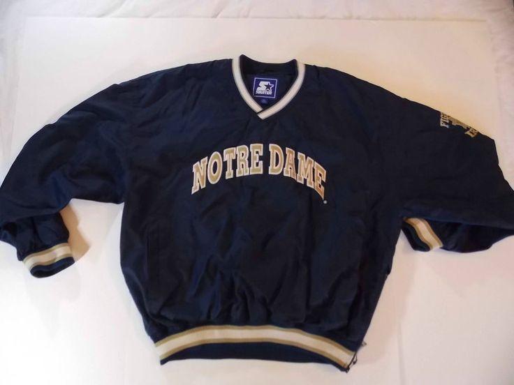 XL Mens Starter Notre Dame Fighting Irish Pullover Pull Over Jacket Vintage T2 #Starter #NotreDameFightingIrish