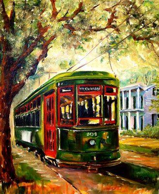 New Orleans streetcar  Diane Milsap, artist