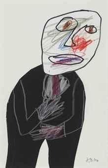 Jean Dubuffet, Portrait d'homme, 1974 | Black suit and coloured scribble |