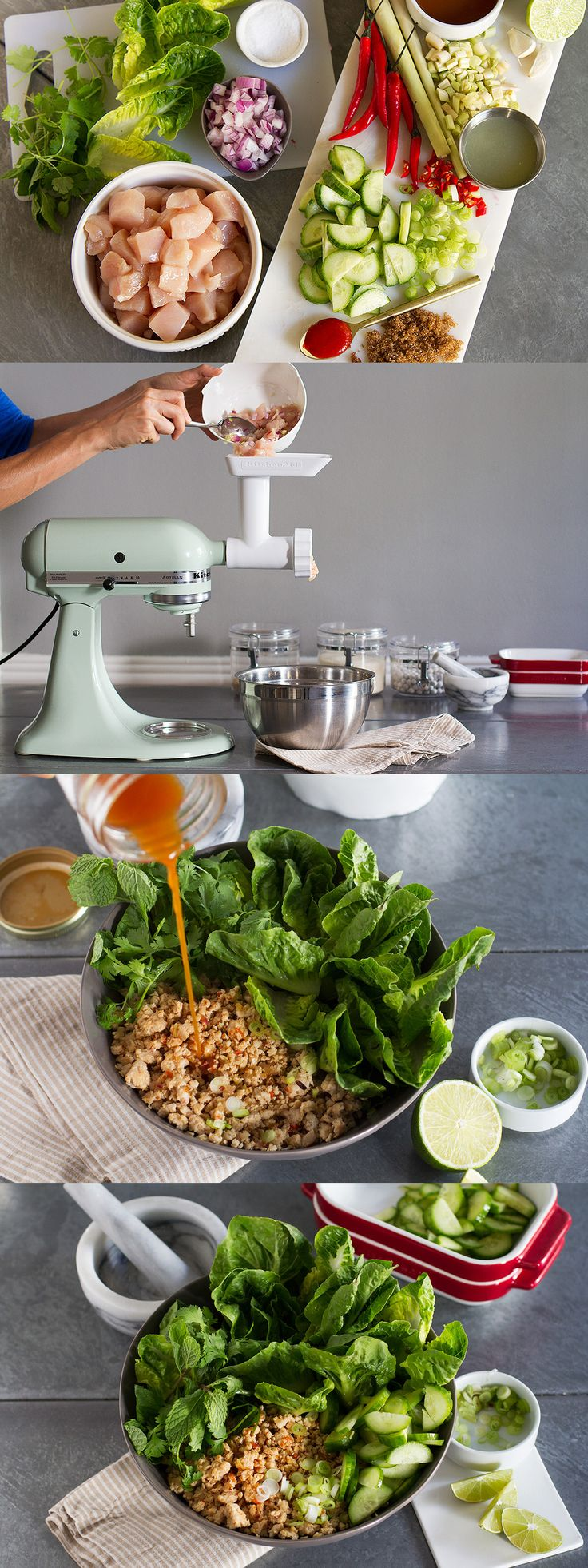 Make your own Thai chicken dish with the KitchenAid® Stand Mixer and Food Grinder Attachment. Get the recipe for Lemongrass Chicken and Herb Wraps from our global cuisine series on our blog.  Recipe by @aidamollenkamp.