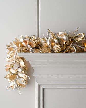 "$265 6' length  ""Champagne Frost"" Pre-Lit Christmas Garland at Horchow."