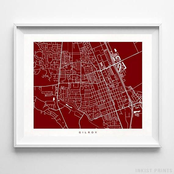 Gilroy, California Street Map Wall Art Poster - 70 Color Options - Prices from $9.95 - Click Photo for Details - #streetmap #map #homedecor #wallart #Gilroy #California