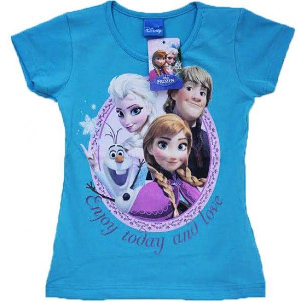 Frost t-shirt lyseblå til piger børn med Anna Elsa Olaf Kristoff fra Disney filmen Frost Frozen