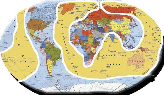 Континент Лемурия               ( желтый фон )