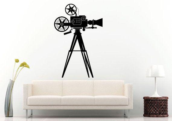 Movie Film Cinema Roll Vintage Video Camera Wall Decal Vinyl Sticker Mural Room Decor L931