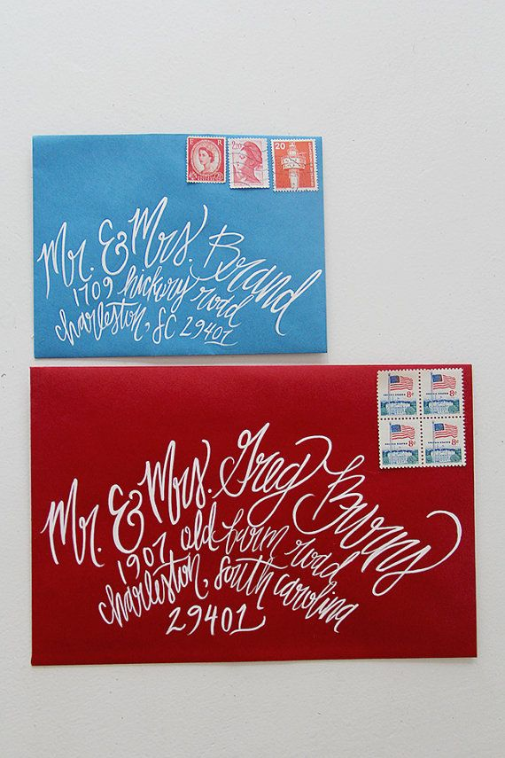 Hand Painted Calligraphy Envelopes, by Shannon Kirsten