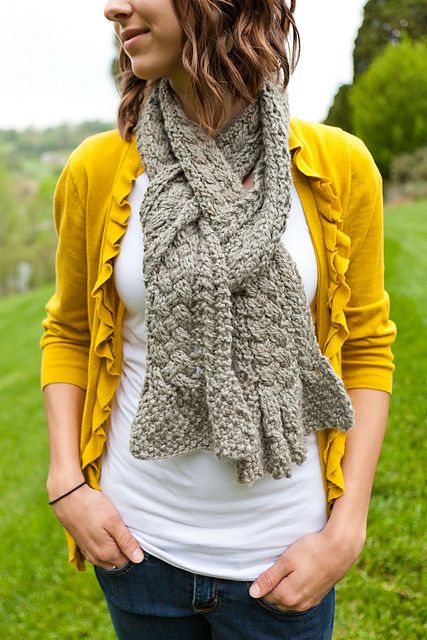 Long Scarf, look at how it is wound around and back around and through --  Ravelry: Mary Scarf pattern by Jennifer Wood